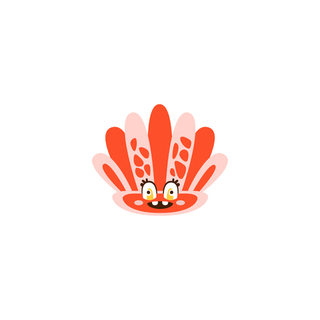 Cute seahell, funny sea creature hand drawn vector Illustration