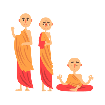 Three Buddhist monks in orange clothes and in different poses vector Illustration Illustration