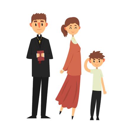 La gente della religione cattolica in vestiti tradizionali, famiglia di un'illustrazione cristiana di vettore del sacerdote