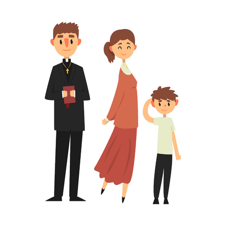 People of Catholic religion in traditional clothes, family of a Christian priest vector Illustration Illustration