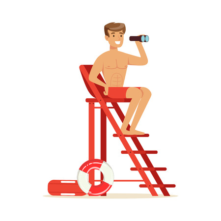 Male lifeguard sitting on lookout tower and looking at binoculars, professional rescuer on the beach vector Illustration