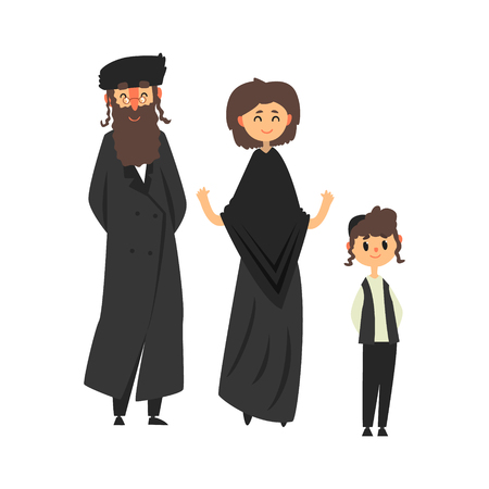 Traditional jewish family with son vector Illustration