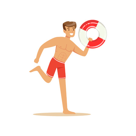 Male lifeguard in red shorts runnning with lifebuoy, professional rescuer on the beach vector Illustration