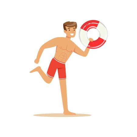 Mannelijke badmeester in het rode borrels running met reddingsboei, professionele redder op de strand vectorillustratie