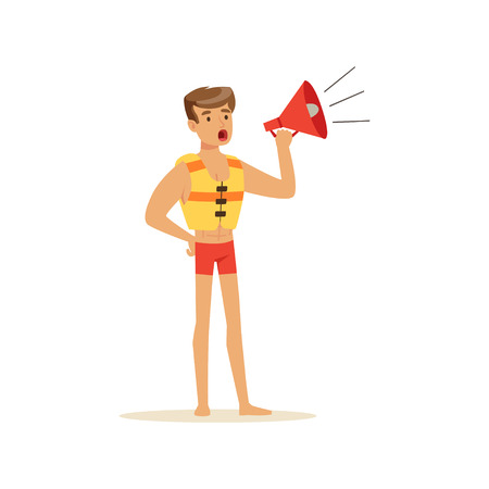Male lifeguard in red shorts shouting by megaphone, professional rescuer on the beach vector Illustration