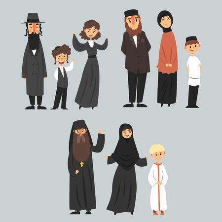 People of different religions in traditional clothes, Jewish, Muslim, Orthodox family vector Illustrations