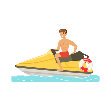 Male lifeguard in red shorts driving by water motorcycle, professional rescuer on the beach vector Illustration Illustration