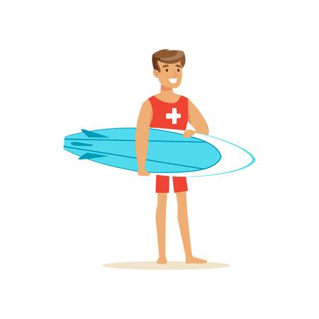 Mannelijke badmeester in rode borrels met surfplank, professionele redder op de strand vectorillustratie
