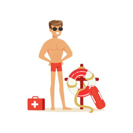 Mannelijke badmeester in rode borrels met materiaal op het strand, professionele redder op de strand vectorillustratie Stock Illustratie