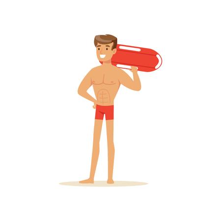 생활 구명 서와 함께 서있는 빨간 반바지에 남성 근 위 기병 연대, 해변에서 전문 구조자 벡터 일러스트 레이 션 일러스트