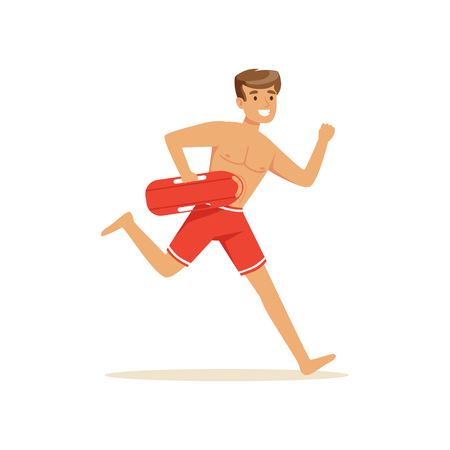 security guard man: Male lifeguard in red shorts running with life preserver buoy, professional rescuer on the beach vector Illustration