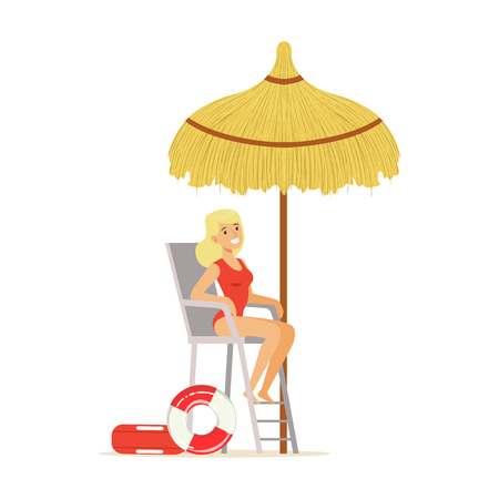 Female lifeguard in a red swimsuit watching situation on the beach, rescuer professional vector Illustration Illustration