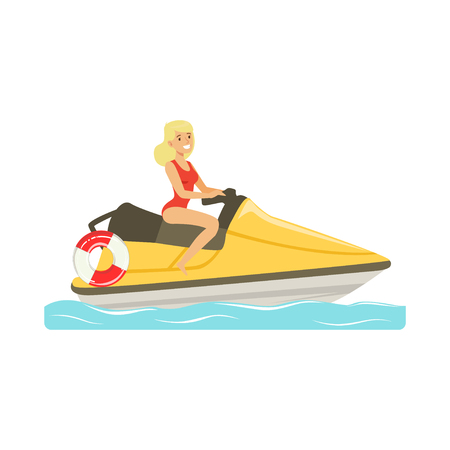 Female lifeguard in a red swimsuit driving by water motorcycle, rescuer professional vector Illustration