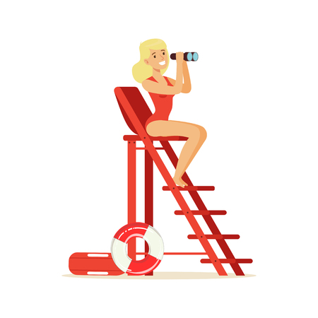 Lifeguard girl in a red swimsuit sitting on lookout tower and looking at binoculars, rescuer professional vector Illustration