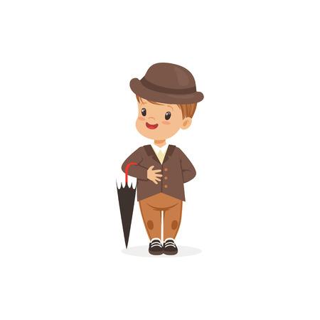 古典的なレトロ スタイルのベクトル図で茶色のスーツと帽子持株傘、若い紳士を着てかわいい男の子の服装