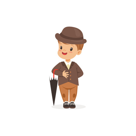 Cute little boy wearing brown suit and hat holding umbrella, young gentleman dressed up in classic retro style vector Illustration