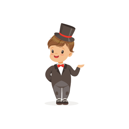 Elegant little boy wearing dinner jacket and black top hat, young gentleman dressed up in classic retro style vector Illustration