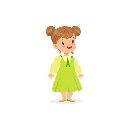 Beautiful little girl posing in green dress, young lady dressed up in classic retro style vector Illustration