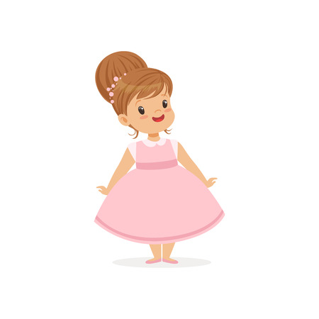 Beautiful little girl posing in pink dress, young lady dressed up in classic retro style vector Illustration Illustration