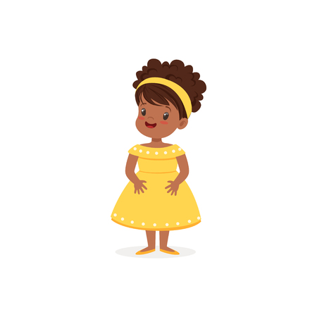 clothe: Beautiful black little girl posing in yellow dress, young lady dressed up in classic retro style vector Illustration