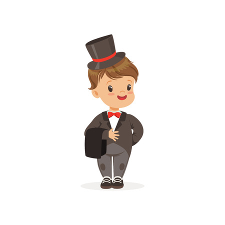 Cute little boy wearing grey dinner jacket and black top hat, young gentleman dressed up in classic retro style vector Illustration