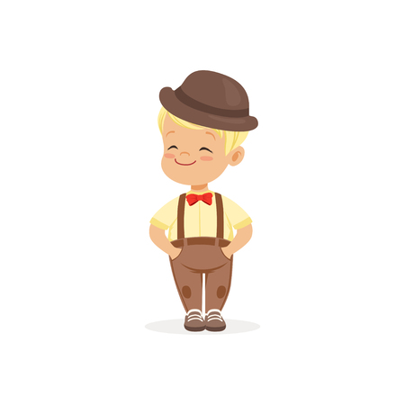 Cute little boy in bowler hat, young gentleman dressed up in classic retro style vector Illustration Çizim