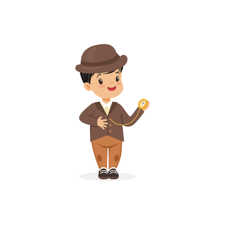 Cute little boy in tweed suit with pocket watch, young gentleman dressed up in classic retro style vector Illustration
