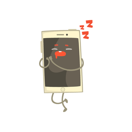 Cute sleeping smartphone character with arms and legs cartoon vector Illustration