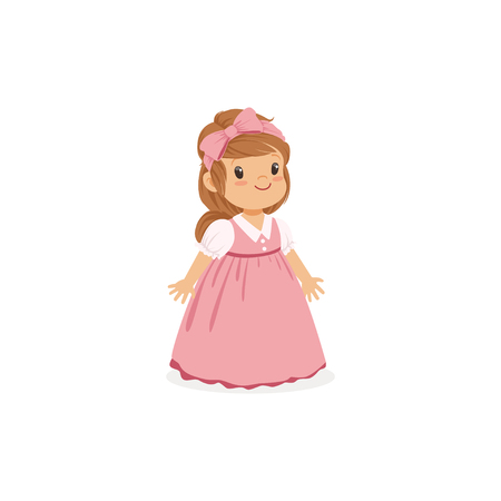 Beautiful little girl posing in pink long dress, young lady dressed up in classic retro style vector Illustration