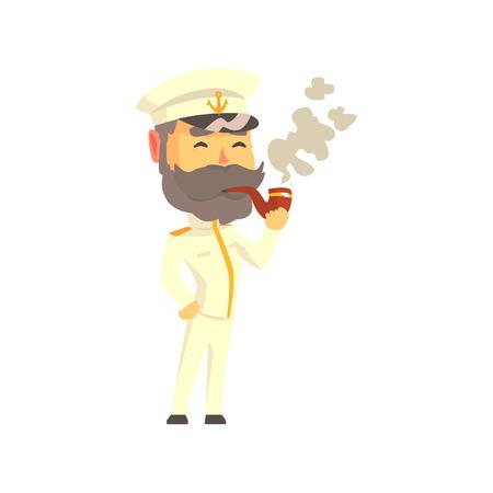 Ship captain in uniform smoking pipe cartoon vector Illustration 向量圖像