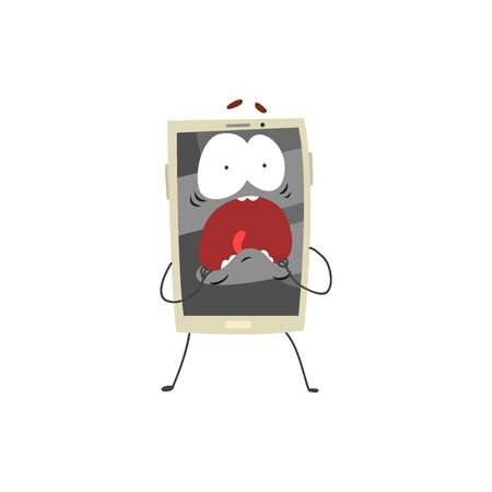 Scared screaming smartphone character with a grey screen, arms and legs cartoon vector Illustration
