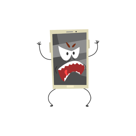 Angry smartphone character with a grey screen, arms and legs cartoon vector Illustration