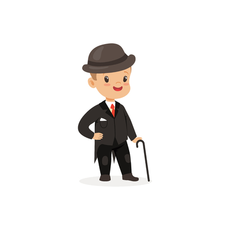 Elegant little boy in black suit with walking stick, young gentleman dressed up in classic retro style vector Illustration
