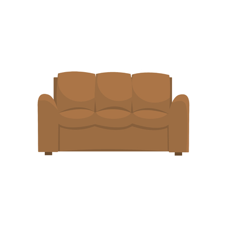 Brown sofa or couch, living room or office interior, furniture for relaxation cartoon vector Illustration Ilustracja