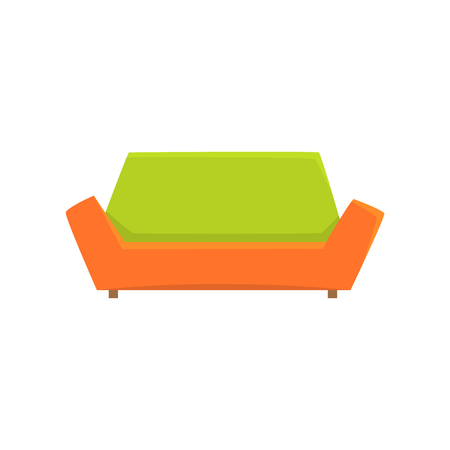 Green and orange sofa or couch, living room or office interior, furniture for relaxation cartoon vector Illustration Illustration