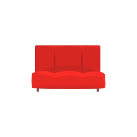 Red sofa or couch, living room or office interior, furniture for relaxation cartoon vector Illustration