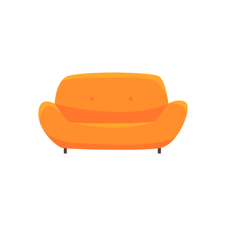 Orange sofa or couch, living room or office interior, furniture for relaxation cartoon vector Illustration