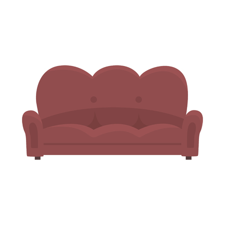 Brown vintage sofa or couch, living room or office interior, furniture for relaxation cartoon vector Illustration Ilustracja