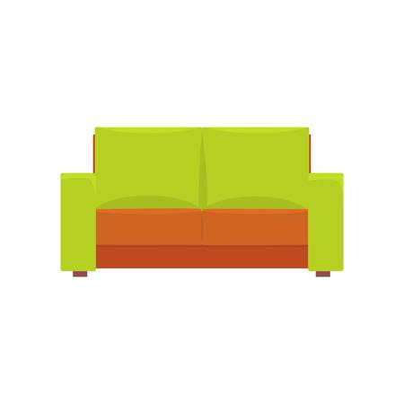 Green modern sofa, living room or office interior, furniture for relaxation cartoon vector Illustration Ilustracja