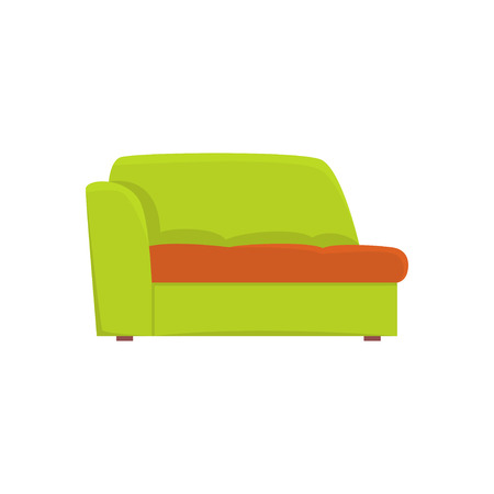 Green couch, living room or office interior, furniture for relaxation cartoon vector Illustration