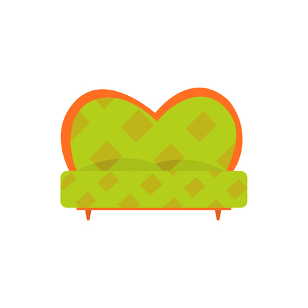 Green retro sofa or couch, living room or office interior, furniture for relaxation cartoon vector Illustration Illustration