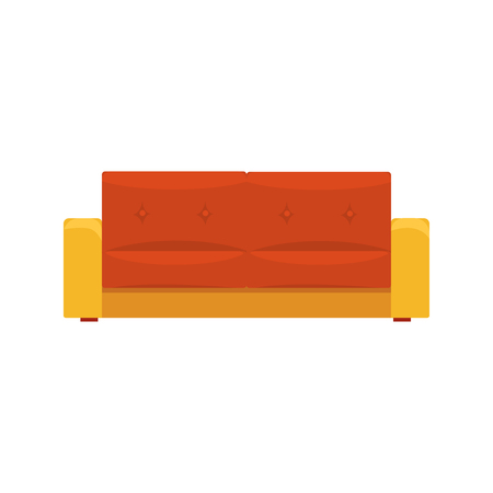 Sofa, living room or office interior, furniture for relaxation cartoon vector Illustration