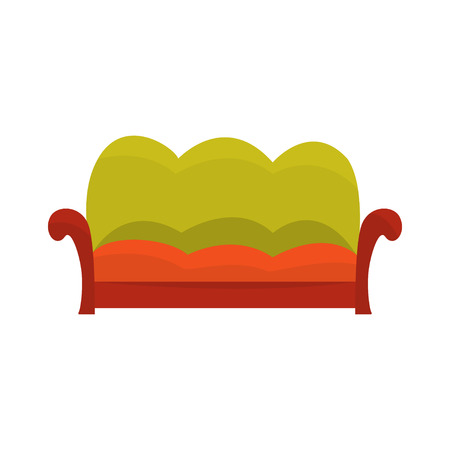 Colorful vintage sofa, living room or office interior, furniture for relaxation cartoon vector Illustration Illustration