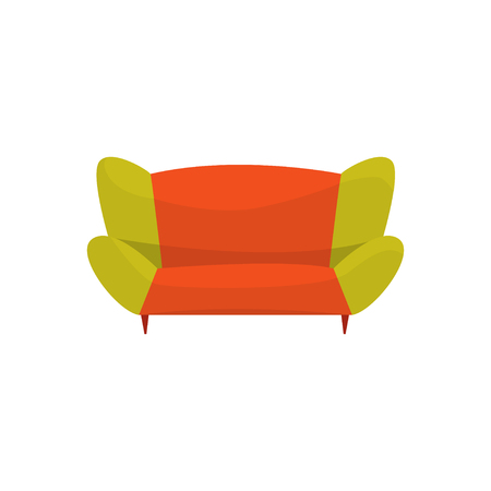 Colorful modern sofa, living room or office interior, furniture for relaxation cartoon vector Illustration Illustration