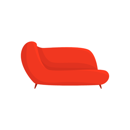 Red couch, living room or office interior, furniture for relaxation cartoon vector Illustration