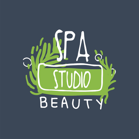 Spa, beauty studio logo design, emblem for wellness, yoga center hand drawn vector Illustration
