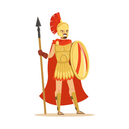Spartan warrior character in armor and red cape with shield and spear, epic Greek soldier vector Illustration Illustration