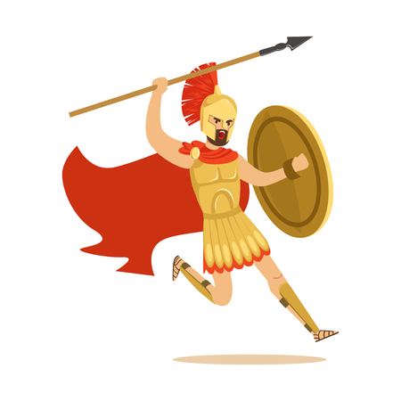 Spartan warrior character in armor and red cape fighting with spear, Greek soldier vector Illustration Illustration
