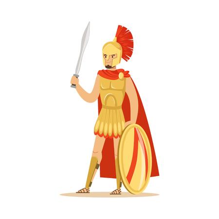 盾と剣、ギリシャの兵士のベクトル図と鎧と赤マントのスパルタ戦士の文字