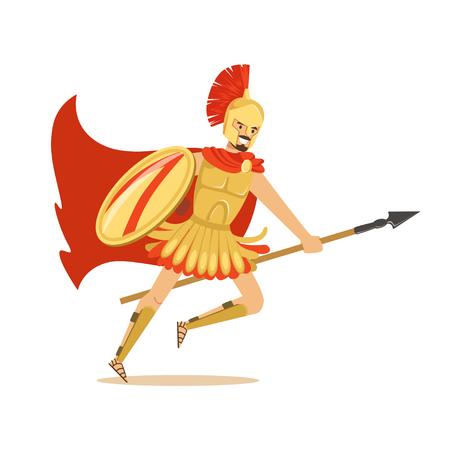 黄金の鎧と槍、ギリシャの兵士のベクトル図で実行している赤いマントのスパルタ戦士の文字